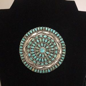 Jewelry - Large Larry Moses Begay turquoise brooch